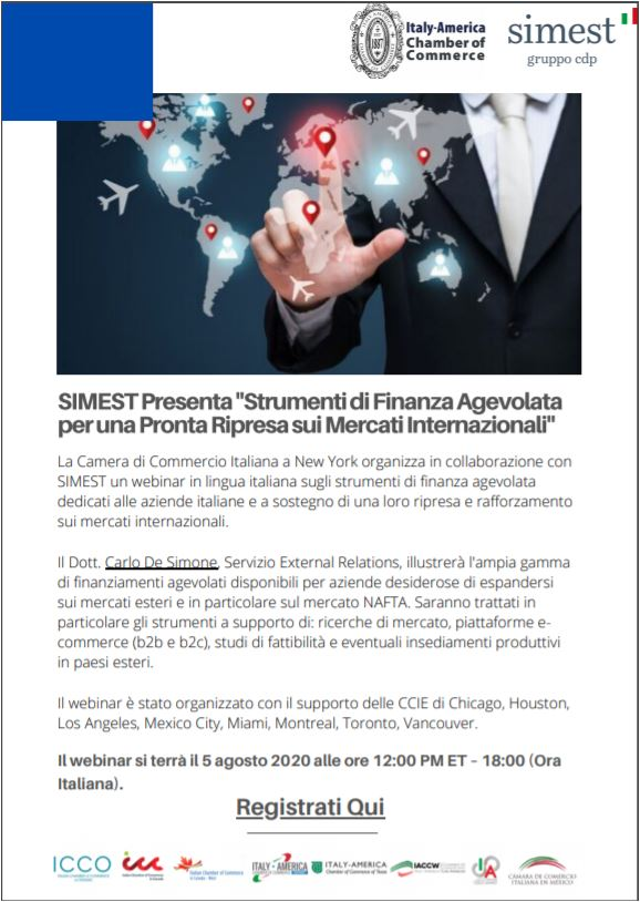 Immagine July 28-2020 Conversation with Carlo De Simone on Simest's Innovative Toolkit for International Economic Recovery.