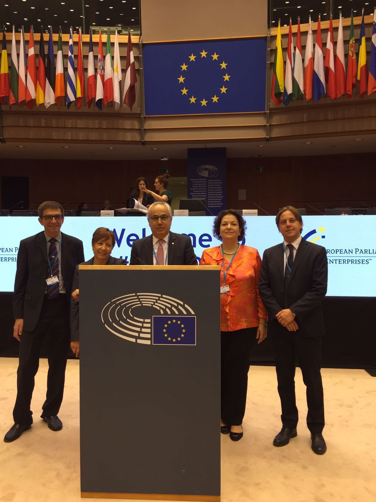 Immagine President Pozza Head of the Italian Delegation speaks to the European Enterprises Parliament 2018 in Bruxelles