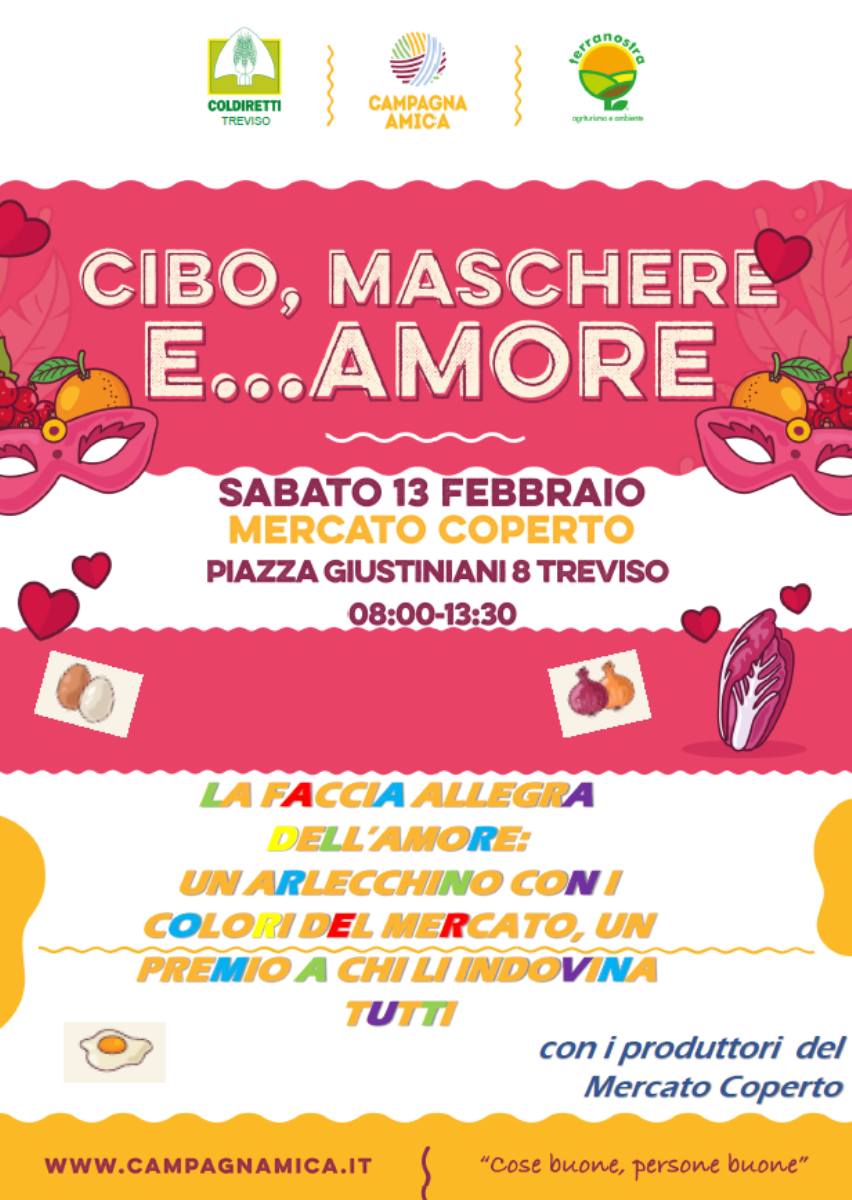 Immagine Saturday 13th February: Harlequin of the market Food, masks and... love