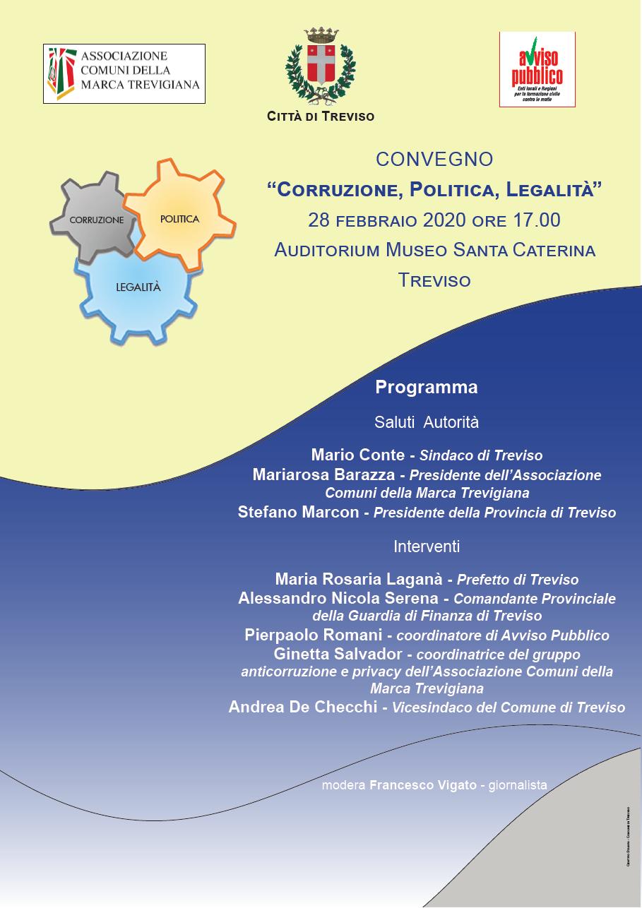 Immagine Convegno Corruzione, Politica, Legalità, Treviso, venerdì 28 febbraio ore 17.00
