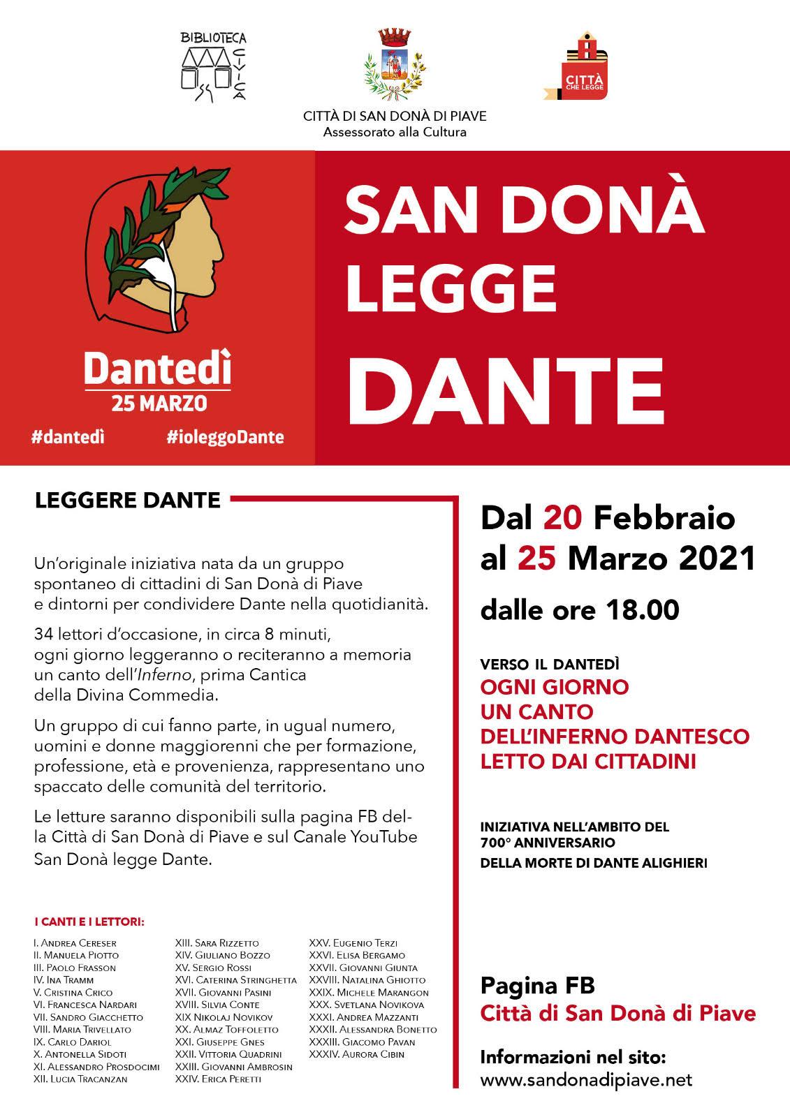 Immagine #Danteday: San Donà reads Dante