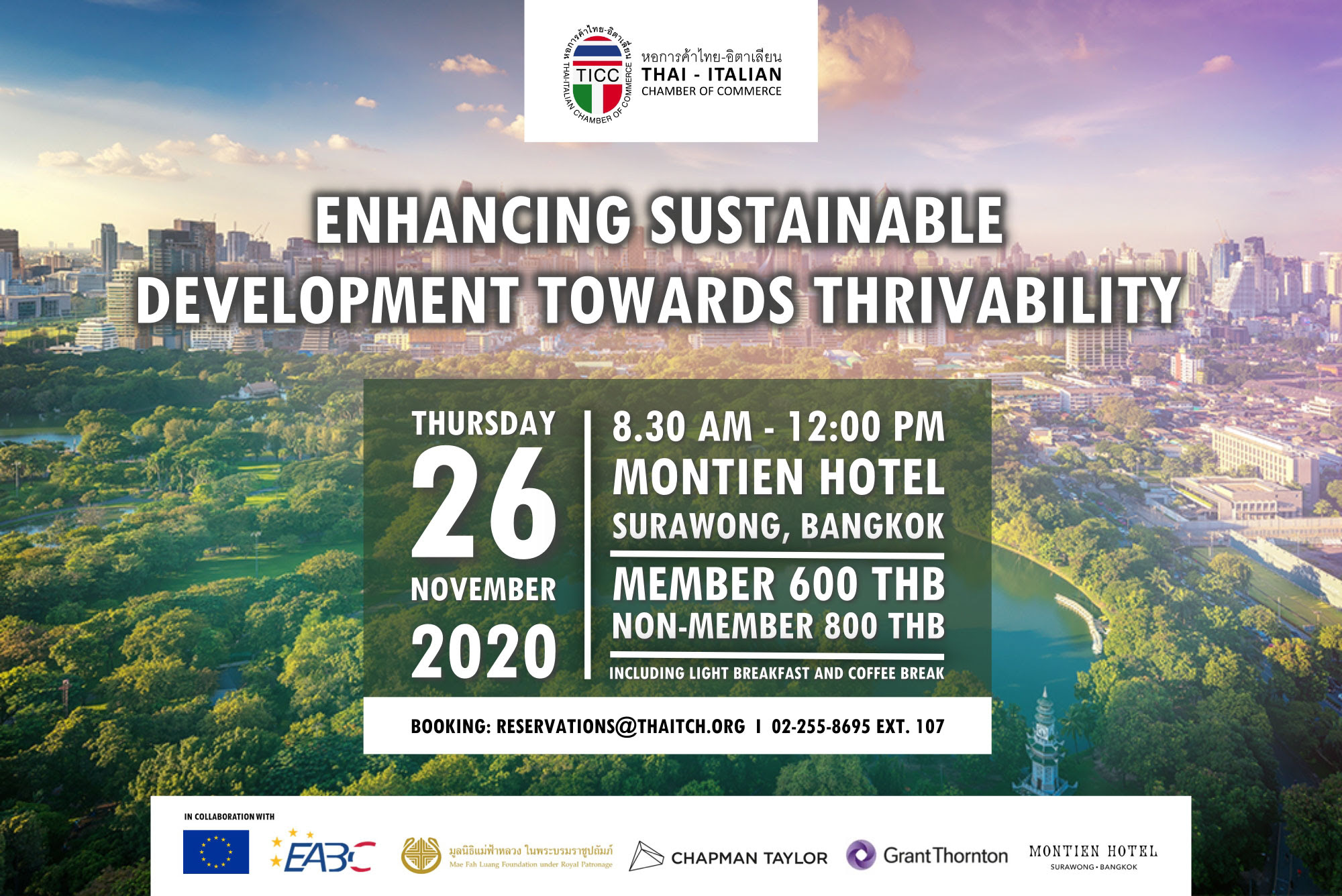 Immagine TICC Seminar: Enhancing Sustainable Development Towards Thrivability // 26 November 2020 at The Montien Hotel Bangkok, Surawong