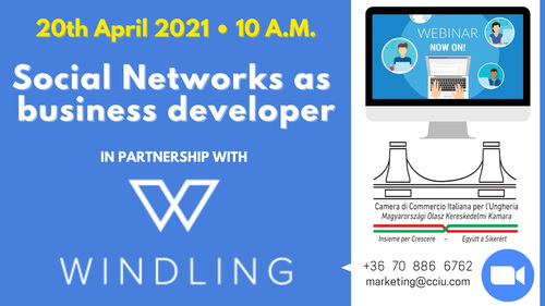 Immagine SAVE THE DATE - Webinar CCIU & Windling Consulting - Social Networks as Business Developer. 20th April at 10:00 am
